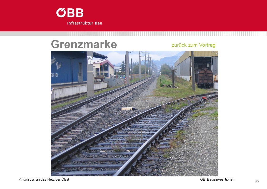 Grenzmarke zurück zum Vortrag Anschluss an das Netz der ÖBB