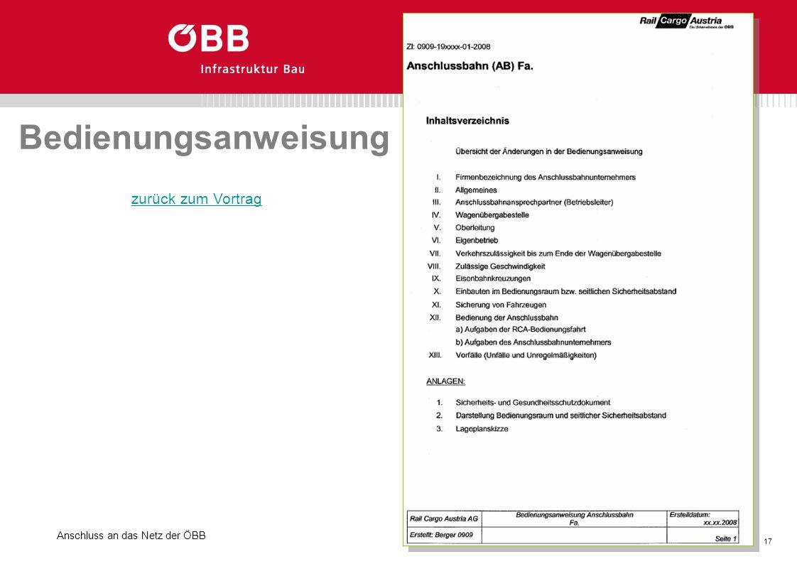 Bedienungsanweisung zurück zum Vortrag Anschluss an das Netz der ÖBB