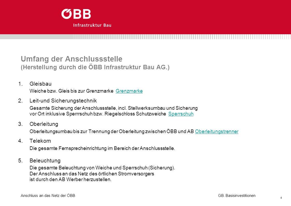 Umfang der Anschlussstelle (Herstellung durch die ÖBB Infrastruktur Bau AG.)