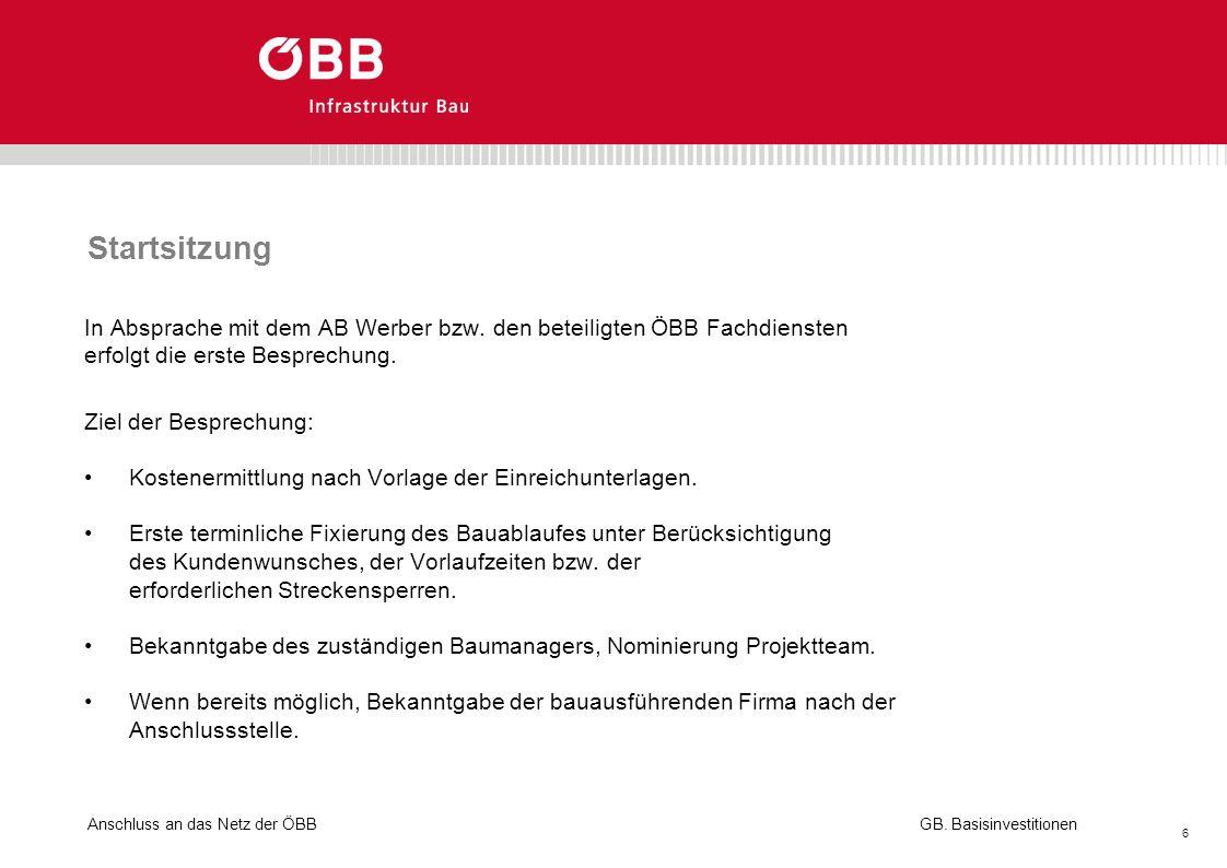 Startsitzung In Absprache mit dem AB Werber bzw. den beteiligten ÖBB Fachdiensten. erfolgt die erste Besprechung.