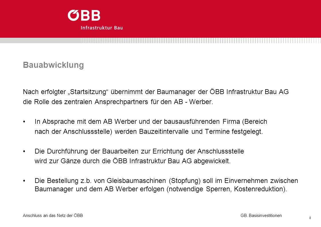"""Bauabwicklung Nach erfolgter """"Startsitzung übernimmt der Baumanager der ÖBB Infrastruktur Bau AG."""