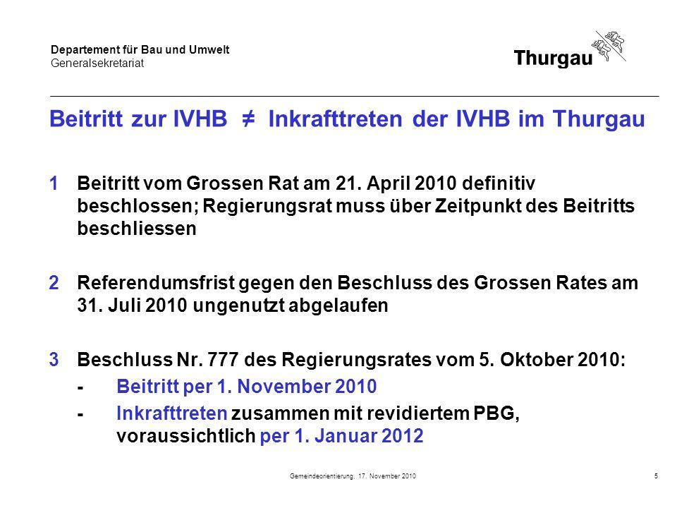 Beitritt zur IVHB ≠ Inkrafttreten der IVHB im Thurgau