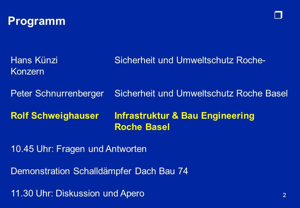 Programm Hans Künzi Sicherheit und Umweltschutz Roche-Konzern