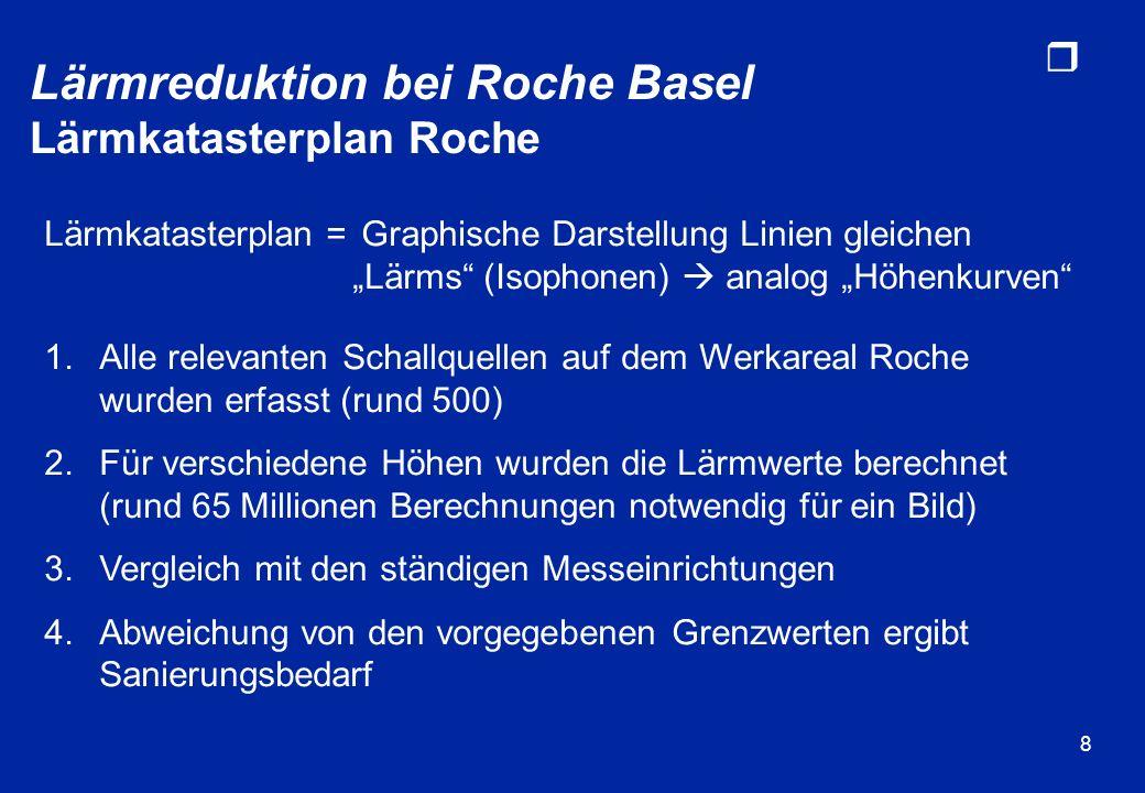 Lärmreduktion bei Roche Basel Lärmkatasterplan Roche