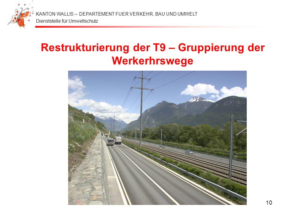 Restrukturierung der T9 – Gruppierung der Werkerhrswege