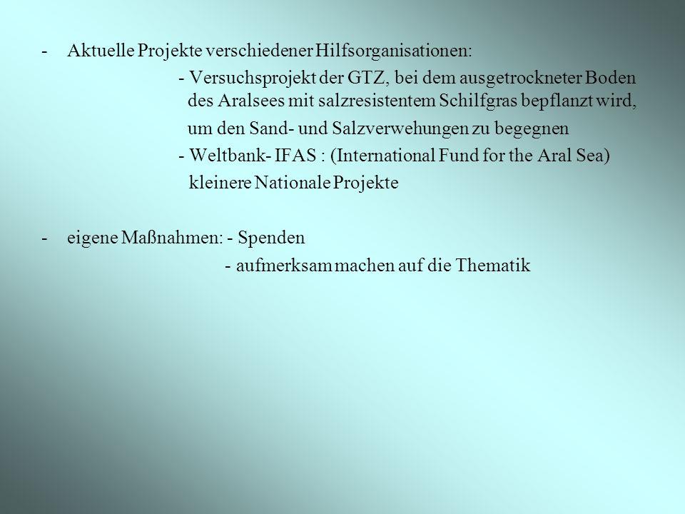 Aktuelle Projekte verschiedener Hilfsorganisationen: