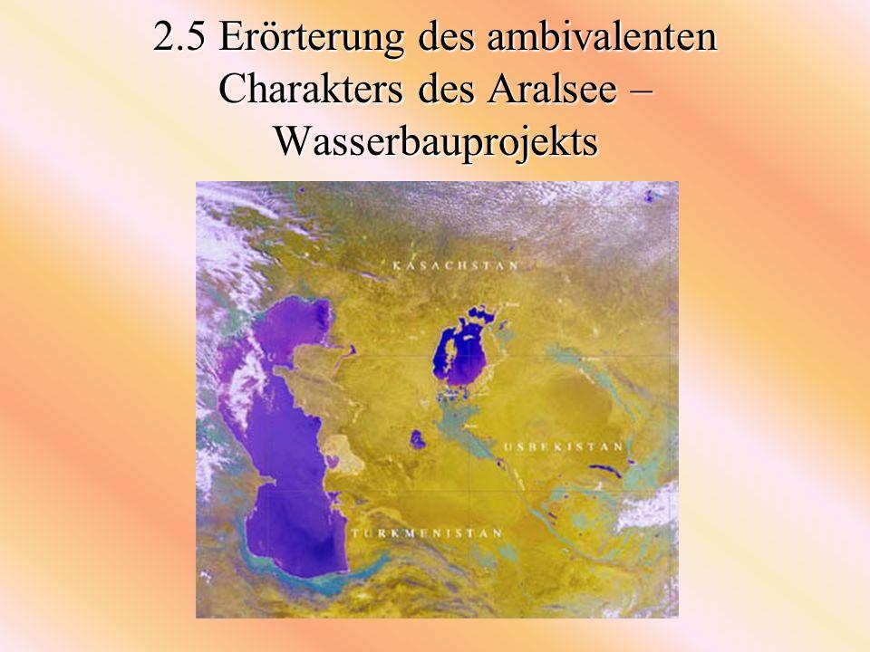 2.5 Erörterung des ambivalenten Charakters des Aralsee –Wasserbauprojekts