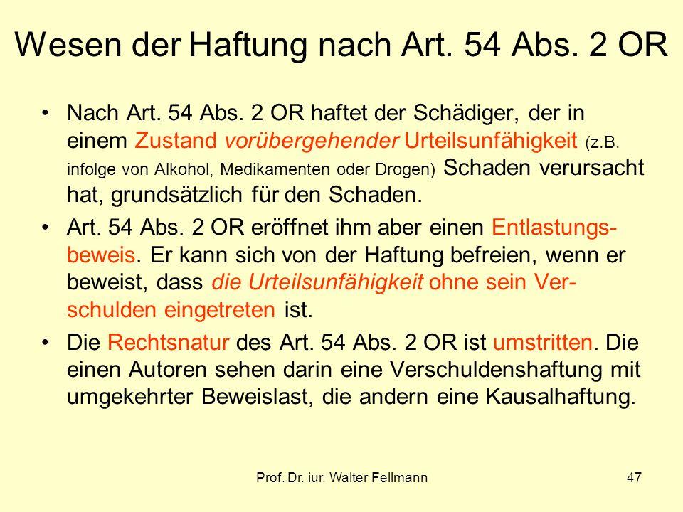 Wesen der Haftung nach Art. 54 Abs. 2 OR