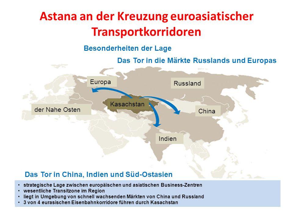 Astana an der Kreuzung euroasiatischer Transportkorridoren