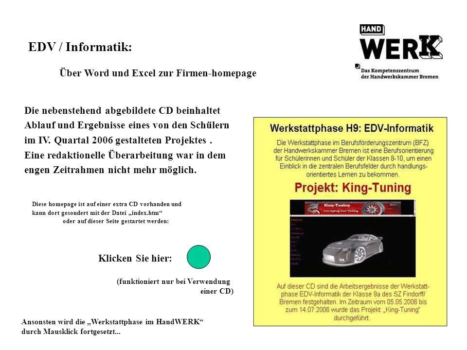 EDV / Informatik: Über Word und Excel zur Firmen-homepage
