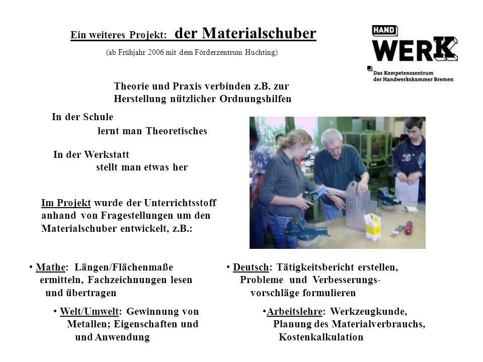 Ein weiteres Projekt: der Materialschuber (ab Frühjahr 2006 mit dem Förderzentrum Huchting)
