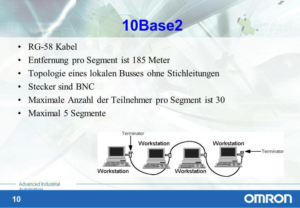 10Base2 RG-58 Kabel Entfernung pro Segment ist 185 Meter