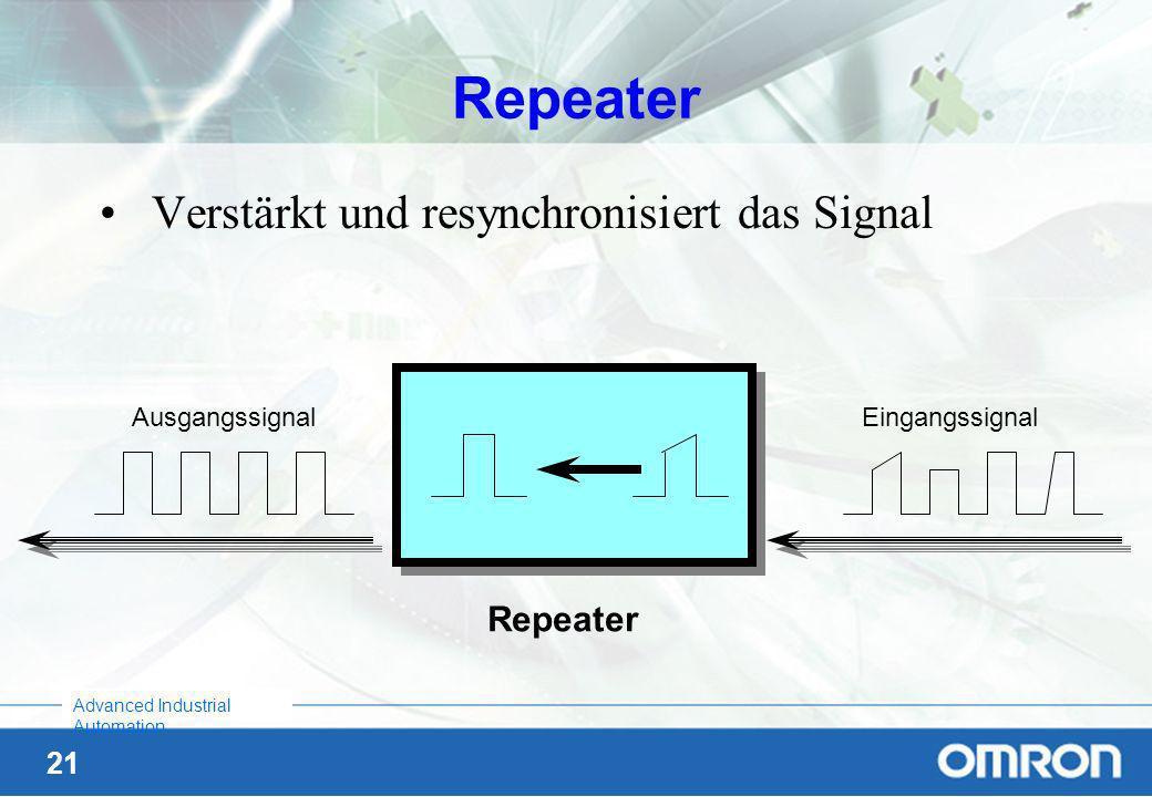 Repeater Verstärkt und resynchronisiert das Signal Repeater