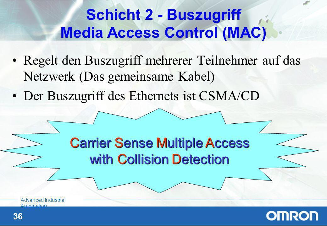Schicht 2 - Buszugriff Media Access Control (MAC)