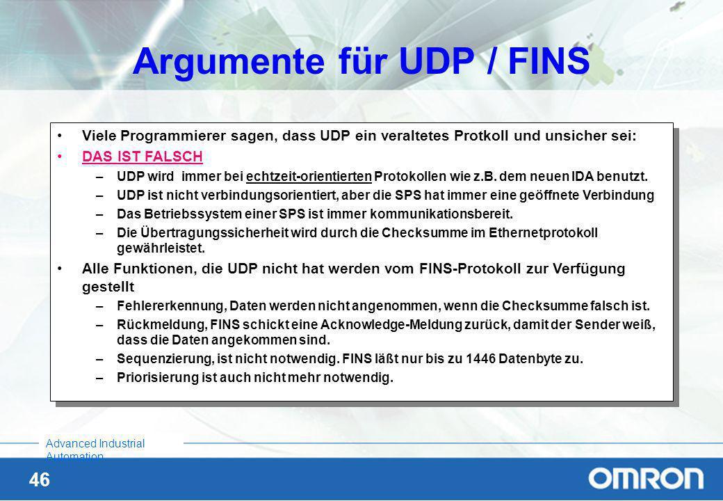 Argumente für UDP / FINS