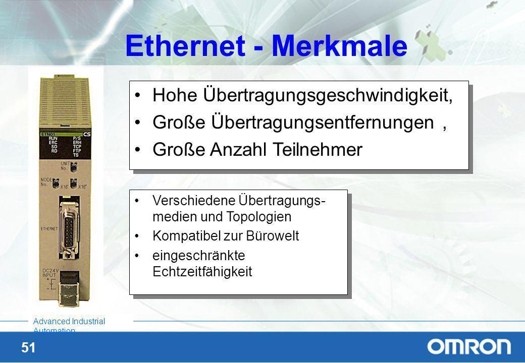Ethernet - Merkmale Hohe Übertragungsgeschwindigkeit,