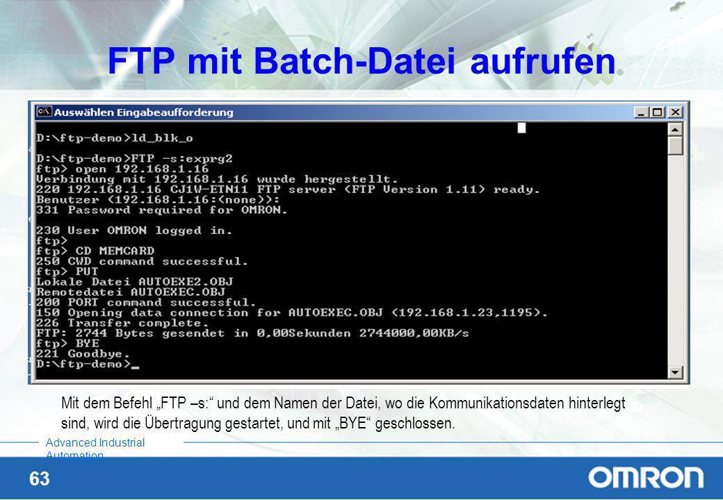 FTP mit Batch-Datei aufrufen