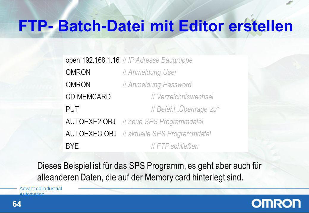FTP- Batch-Datei mit Editor erstellen