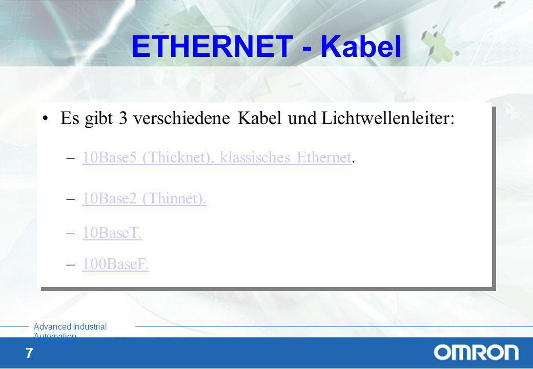 ETHERNET - Kabel Es gibt 3 verschiedene Kabel und Lichtwellenleiter: