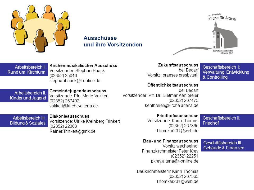 Ausschüsse und ihre Vorsitzenden Arbeitsbereich I: Rund um' Kirchturm