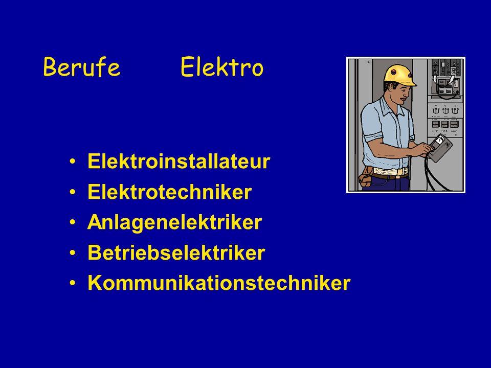Berufe Elektro Elektroinstallateur Elektrotechniker Anlagenelektriker