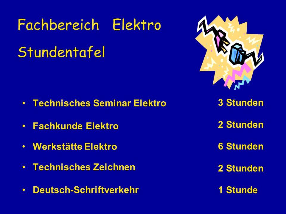 Fachbereich Elektro Stundentafel
