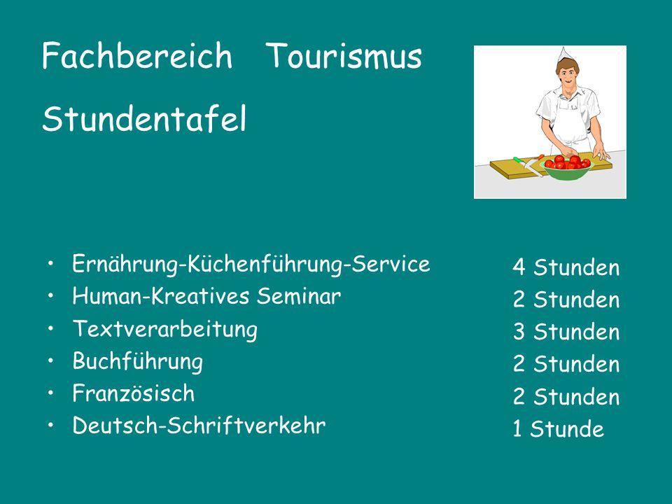 Fachbereich Tourismus Stundentafel