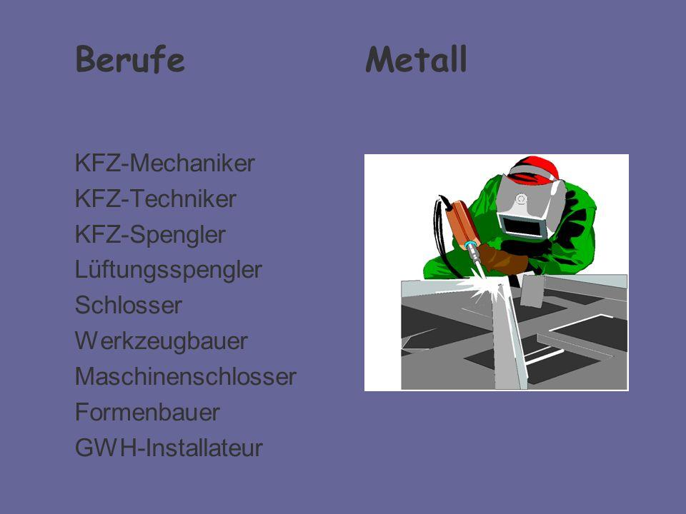 Berufe Metall KFZ-Mechaniker KFZ-Techniker KFZ-Spengler
