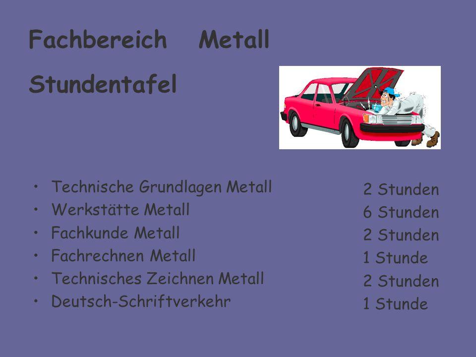 Fachbereich Metall Stundentafel