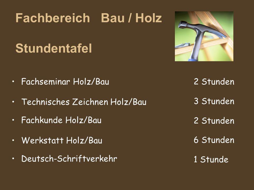 Fachbereich Bau / Holz Stundentafel