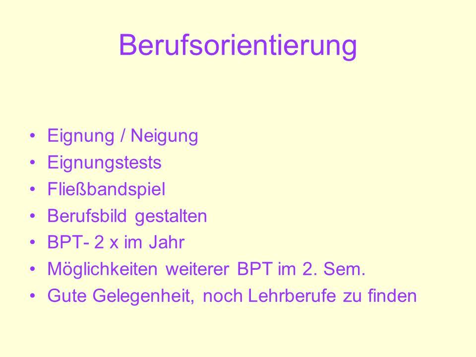 Berufsorientierung Eignung / Neigung Eignungstests Fließbandspiel