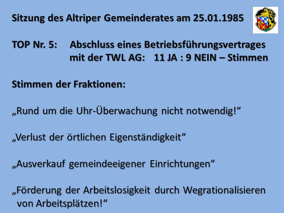 Sitzung des Altriper Gemeinderates am 25.01.1985