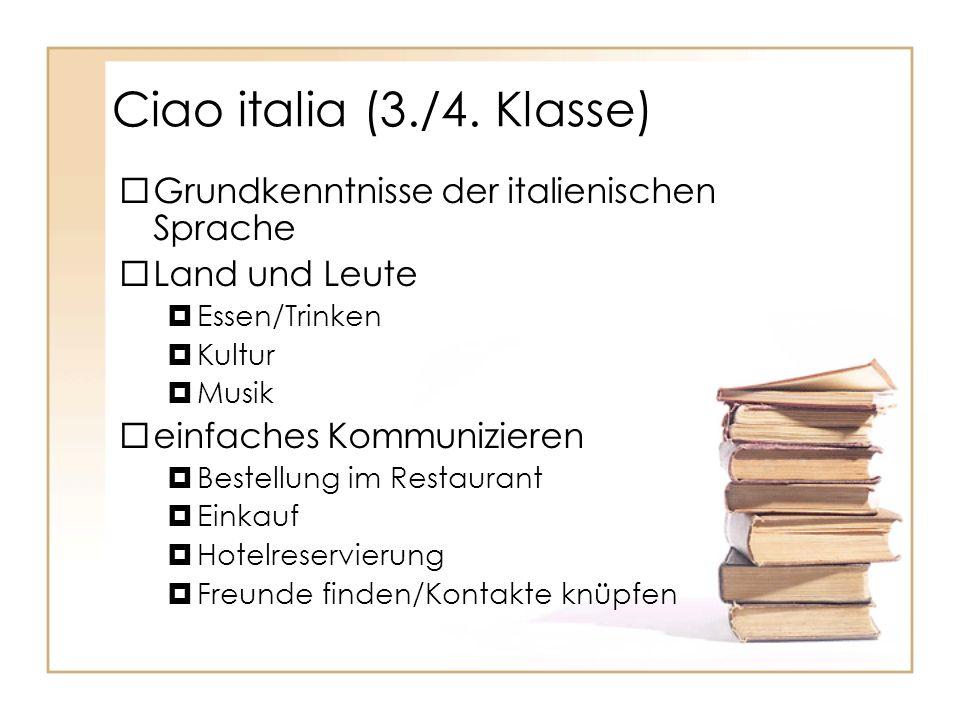 Ciao italia (3./4. Klasse) Grundkenntnisse der italienischen Sprache