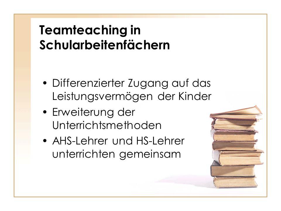 Teamteaching in Schularbeitenfächern