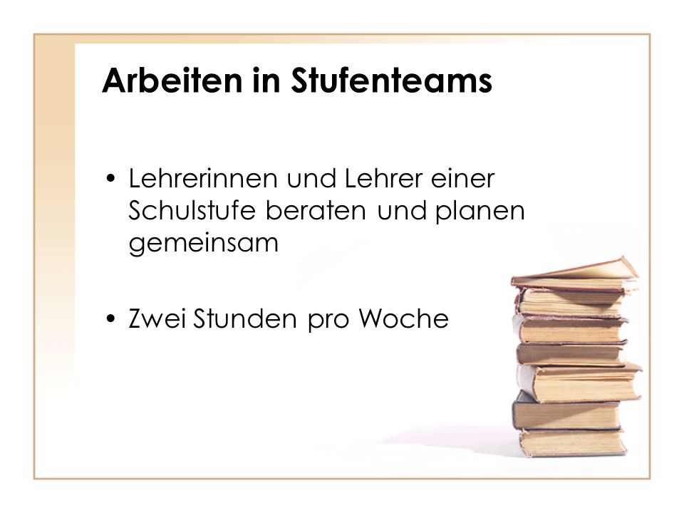 Arbeiten in Stufenteams