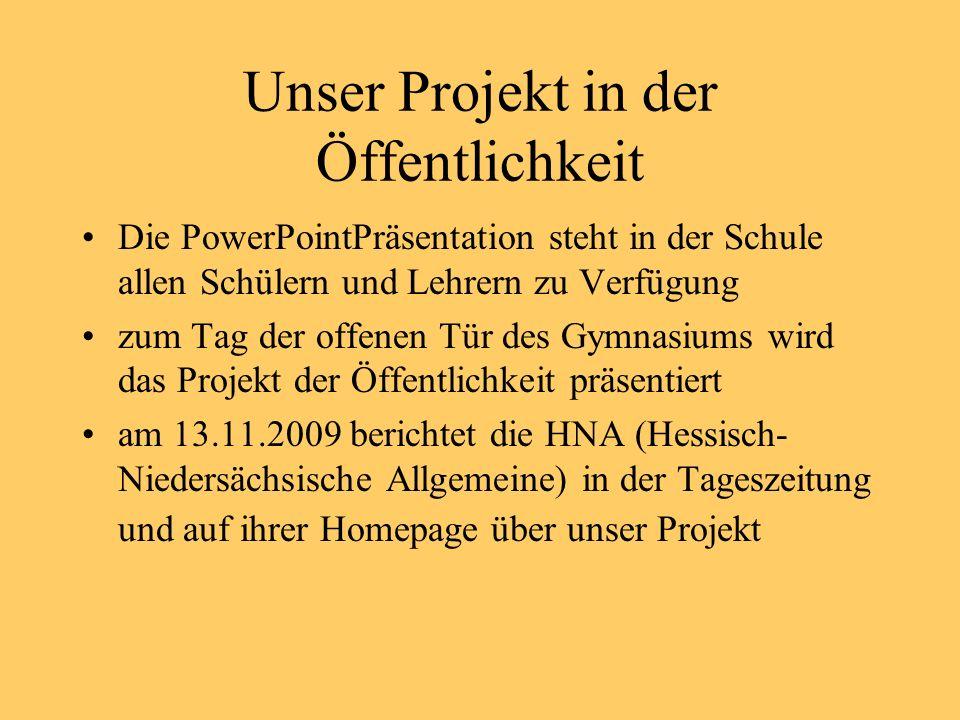 Unser Projekt in der Öffentlichkeit
