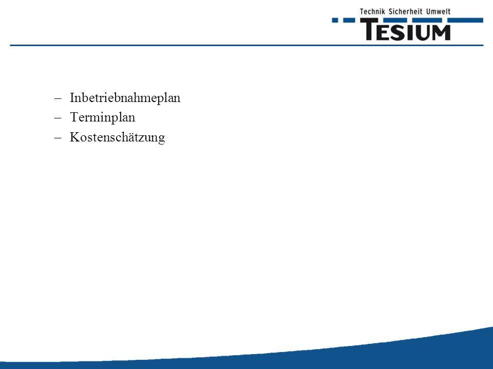 Inbetriebnahmeplan Terminplan Kostenschätzung