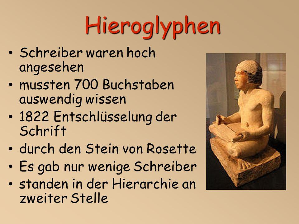 Hieroglyphen Schreiber waren hoch angesehen