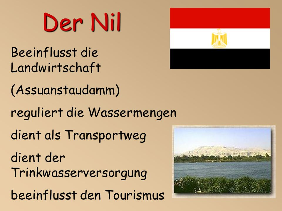 Der Nil Beeinflusst die Landwirtschaft (Assuanstaudamm)
