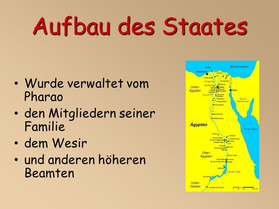 Aufbau des Staates Wurde verwaltet vom Pharao