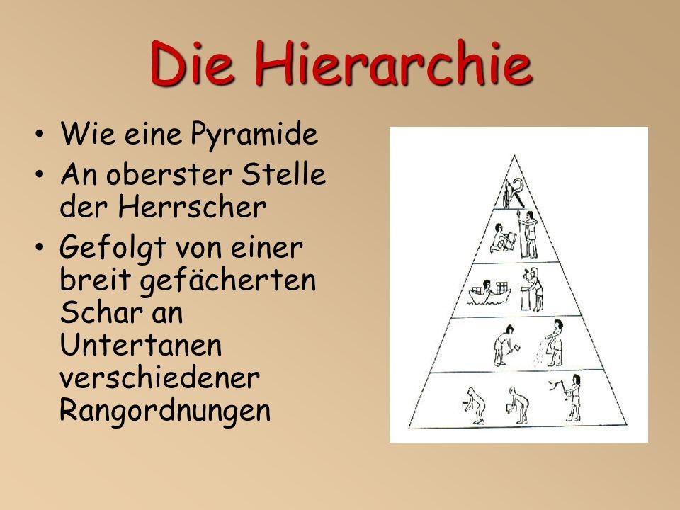 Die Hierarchie Wie eine Pyramide An oberster Stelle der Herrscher