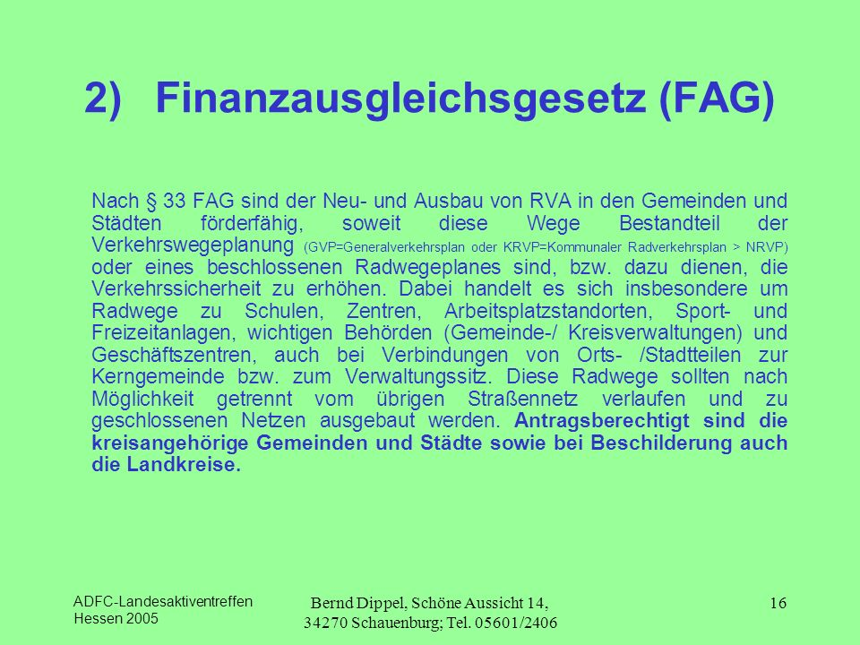 2) Finanzausgleichsgesetz (FAG)
