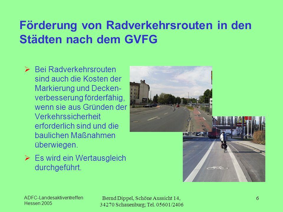 Förderung von Radverkehrsrouten in den Städten nach dem GVFG