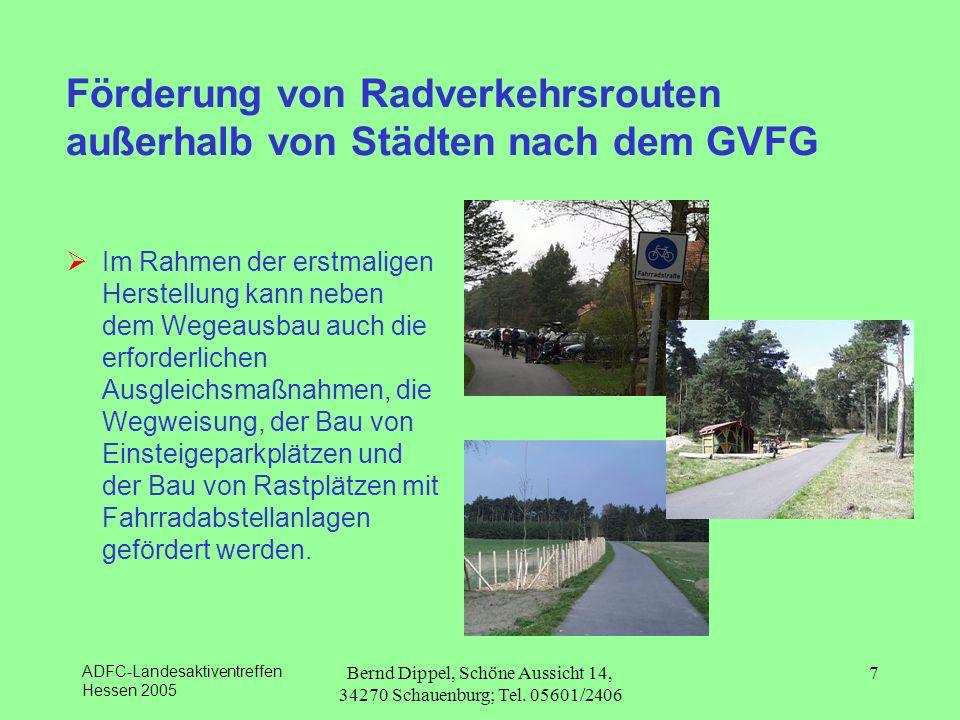 Förderung von Radverkehrsrouten außerhalb von Städten nach dem GVFG