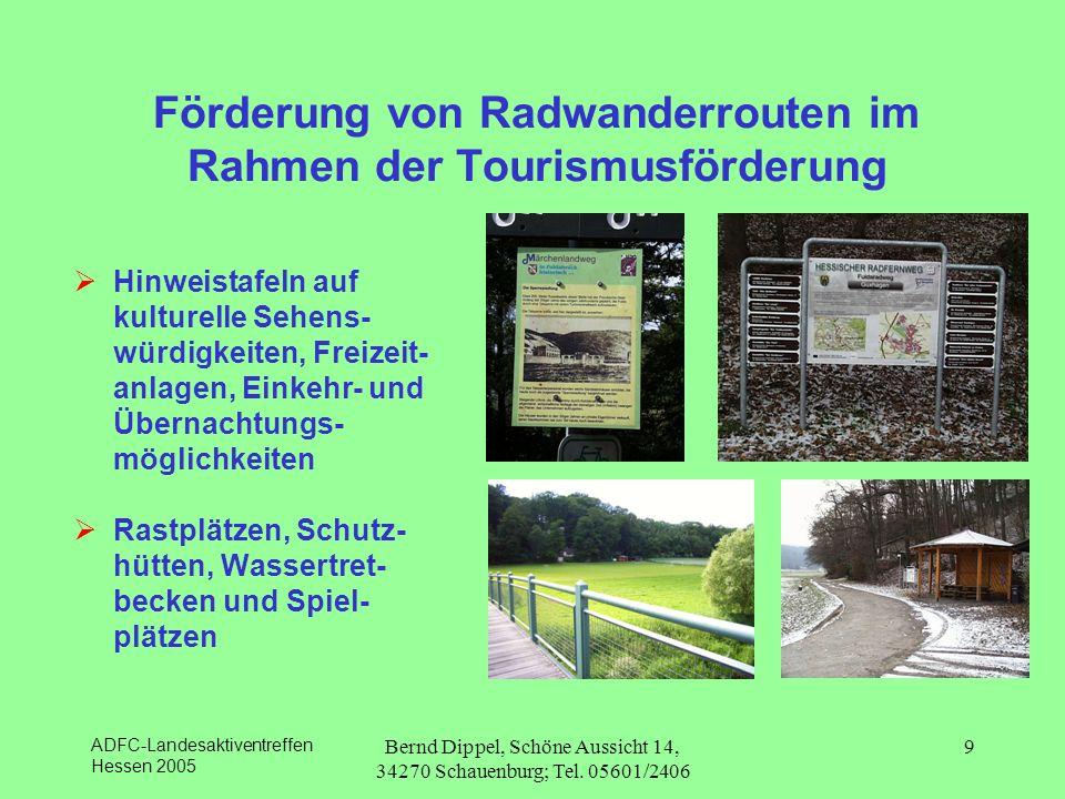 Förderung von Radwanderrouten im Rahmen der Tourismusförderung