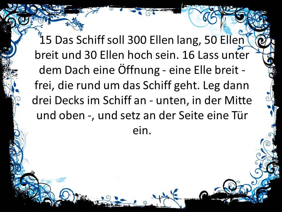 15 Das Schiff soll 300 Ellen lang, 50 Ellen breit und 30 Ellen hoch sein.