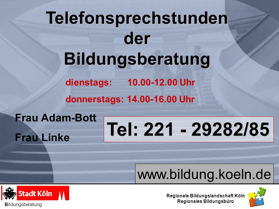 Telefonsprechstunden Regionales Bildungsbüro