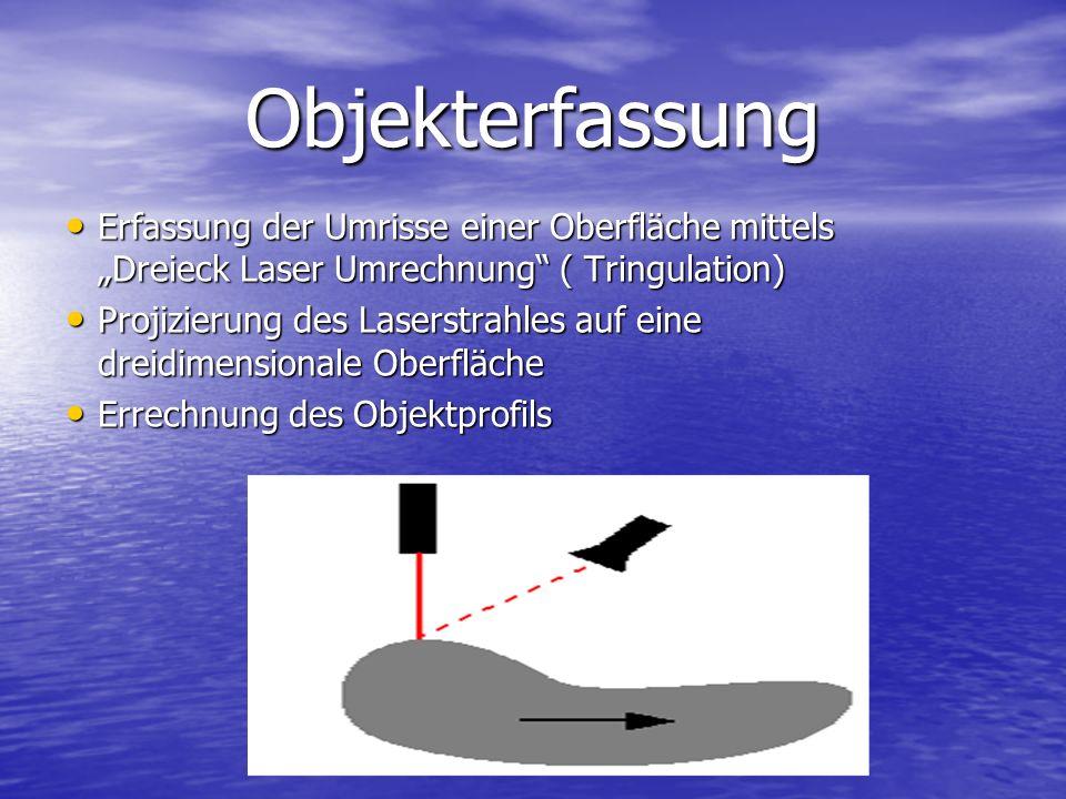 """Objekterfassung Erfassung der Umrisse einer Oberfläche mittels """"Dreieck Laser Umrechnung ( Tringulation)"""