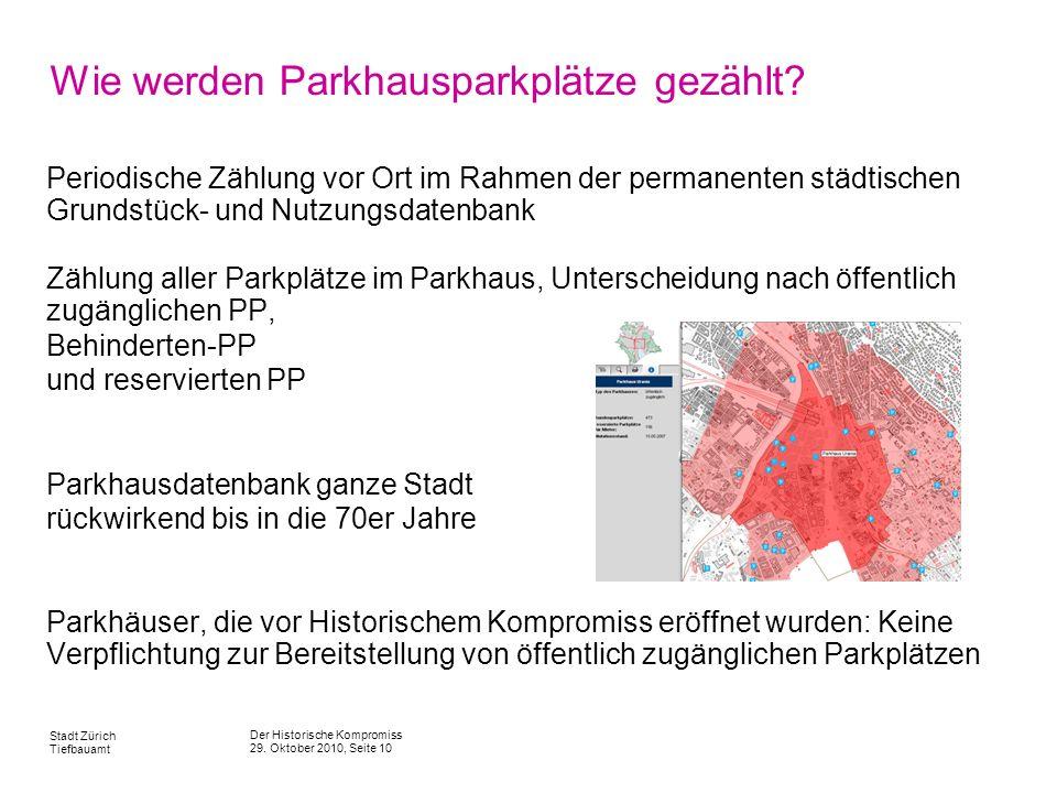 Wie werden Parkhausparkplätze gezählt