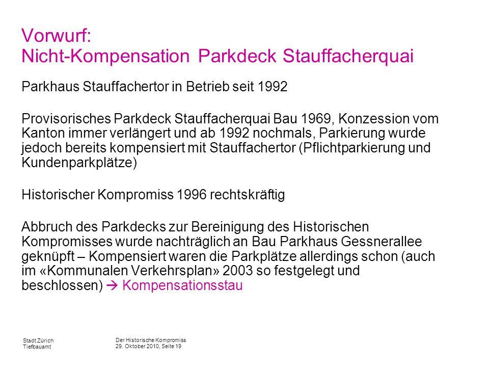 Vorwurf: Nicht-Kompensation Parkdeck Stauffacherquai